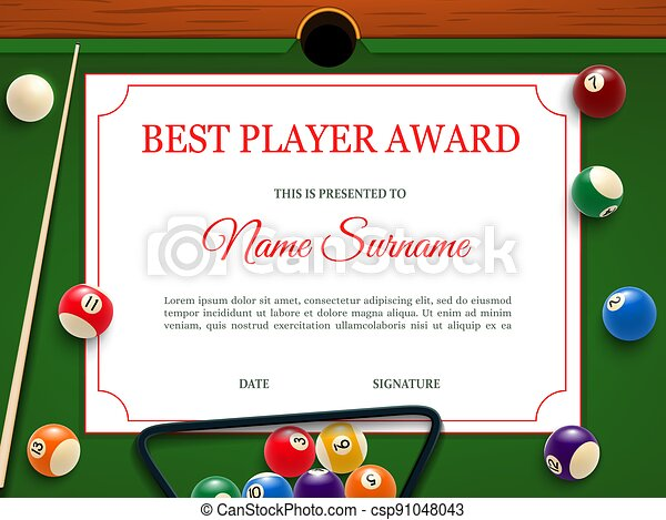 Billiard tournament best player diploma template - csp91048043