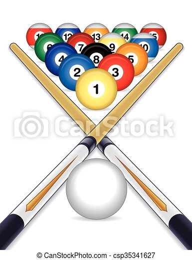 Billiards Balls With Cue Sticks Billiards Balls Cued With