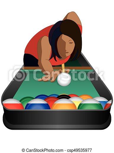 billiards player female - csp49535977