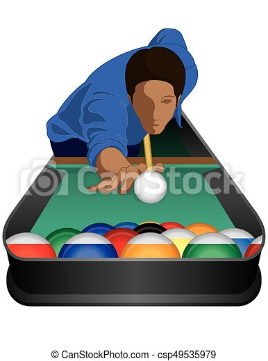 billiards player male on white background - csp49535979