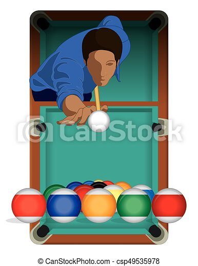billiards player male with billiards table - csp49535978