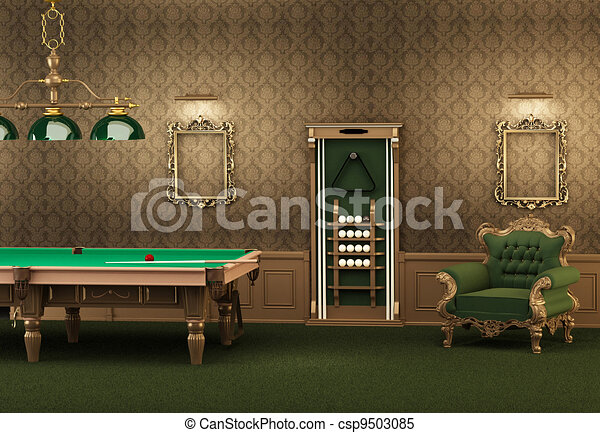 wall in room clip art stock illustrations of billiards pool table and furniture in