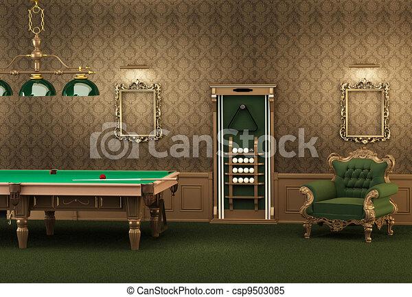billiards., salle, mur, fauteuil, moderne, luxueux, piscine, interior., cadres, table, vide, meubles - csp9503085