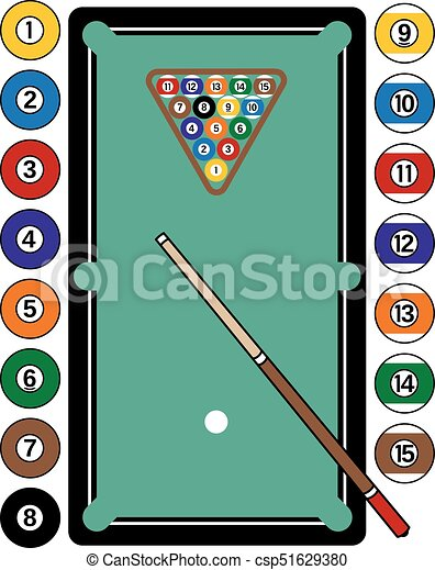 Billiards Table Illustration Of A Pool Complete With