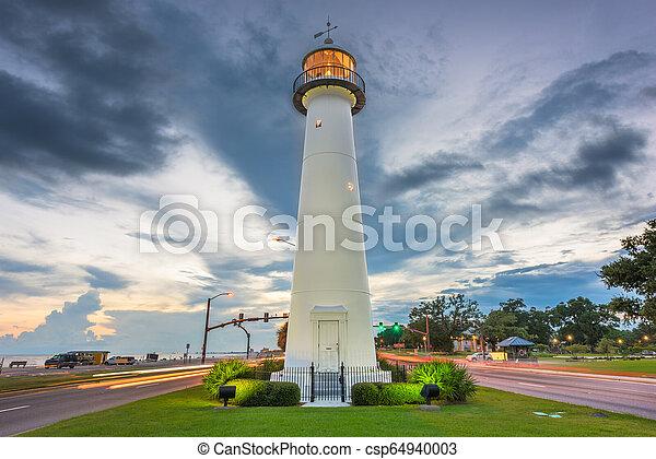 Biloxi Mississippi Usa At Biloxi Lighthouse At Dusk