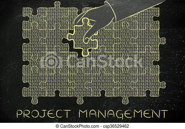 binärer, geschäftsführung, fehlend, puzzel, hand, projekt, stück, code - csp36529462