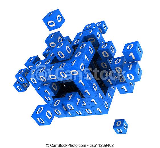 Würfel mit Binärcode - csp11269402