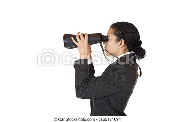 binóculos, futuro, mulher, procurar, negócio - csp5171094