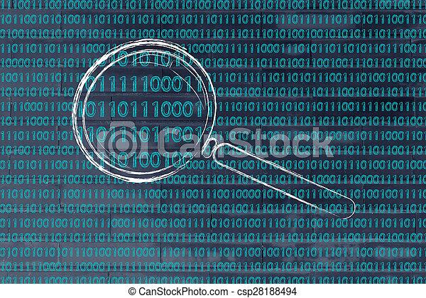 binaire, concept, modèle, verre, code, magnifier, reconnaissance - csp28188494
