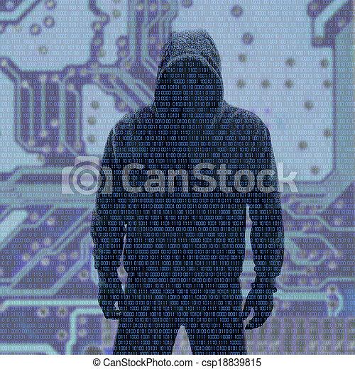 binaire, mot passe, codes, hacked - csp18839815