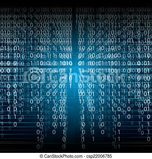 binaire, résumé, arrière-plan bleu, technologie - csp22006785