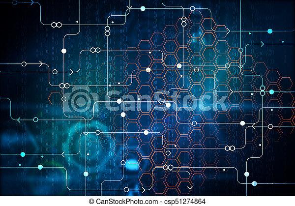 Binary code and circuit background. Streaming binary code... stock ...