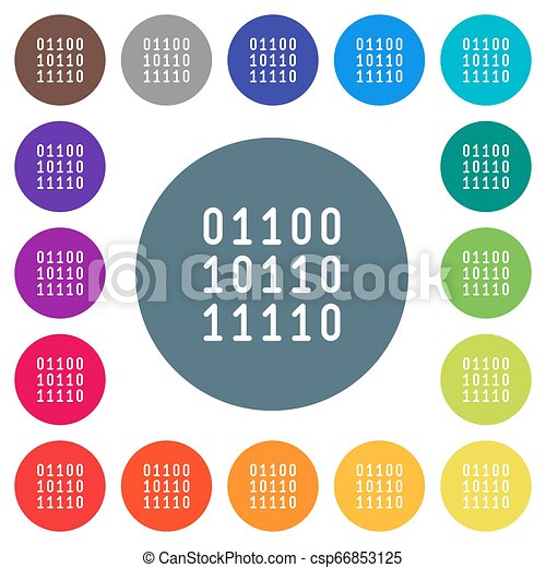Binary code flat white icons on round color backgrounds - csp66853125