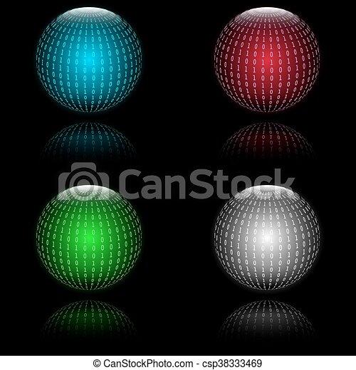 Binary code in sphere form - csp38333469