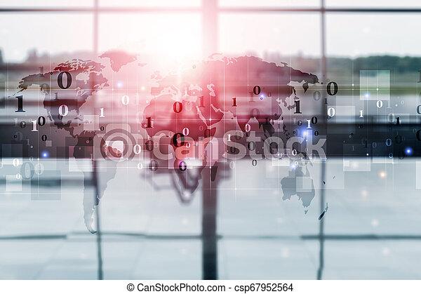 binary code numbers mixed media - csp67952564
