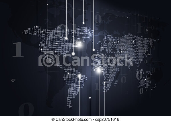 Binary code world map dark background abstract technology binary binary code world map dark background csp20751616 gumiabroncs Choice Image