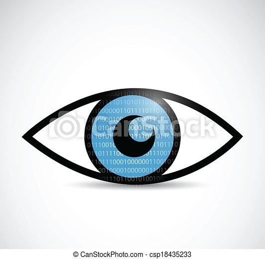 binary eye illustration design - csp18435233