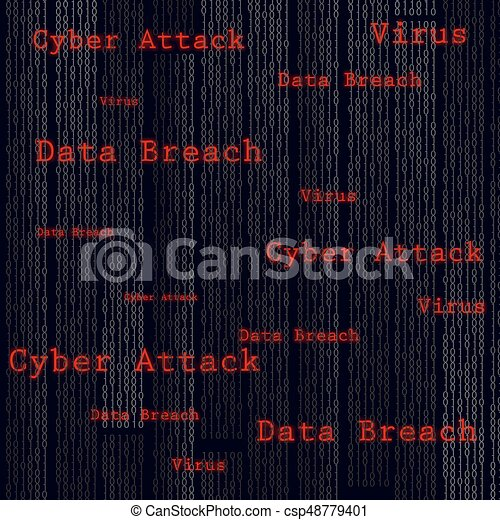 Binary scan virus, data breach, cyber attack. Technology web infection detected illustration. Vector. - csp48779401