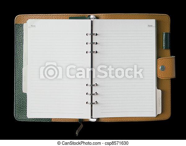 bindemedel, täcka, läder, brun, anteckningsbok - csp8571630