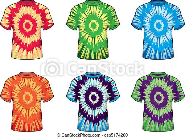 Binden-färben, hemden. Shirts., binden-färben, verschieden ...