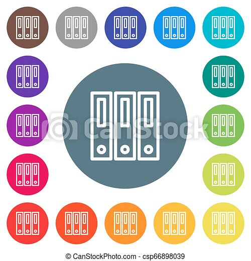 Binders flat white icons on round color backgrounds - csp66898039
