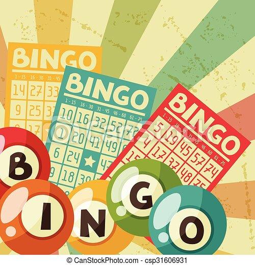 bingo, bolas, loteria, ilustração, jogo, retro, cartões, ou - csp31606931