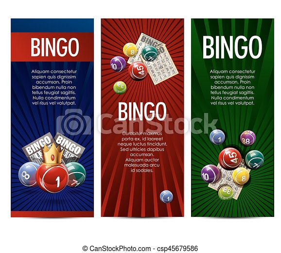 Bingo lottery lotto game vector banners set - csp45679586