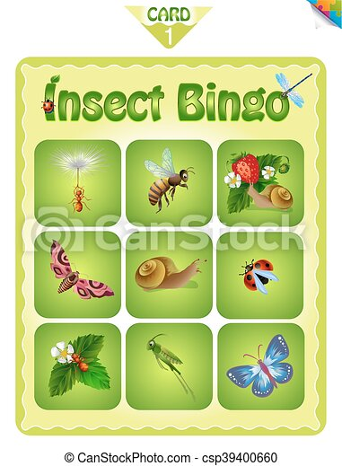 photo about Insects Printable identified as Bingo with alternative bugs