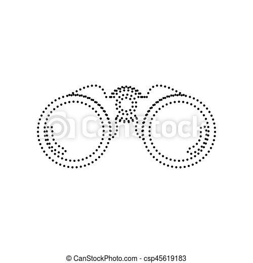 Binocular sign illustration. Vector. Black dotted icon on white background. Isolated. - csp45619183