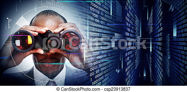 Hombre con prismáticos en el fondo tecnológico - csp23913837