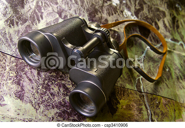 binoculars on map - csp3410906