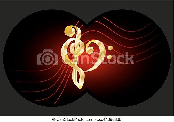 Binoculars view, Heart - violin and bass clef, - csp44096366