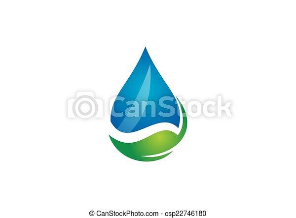 bio, エコロジー, 葉, 水, ベクトル, ロゴ - csp22746180