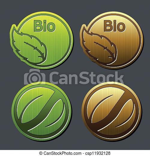 bio, 自然, ラベル, -, 葉, ステッカー - csp11932128