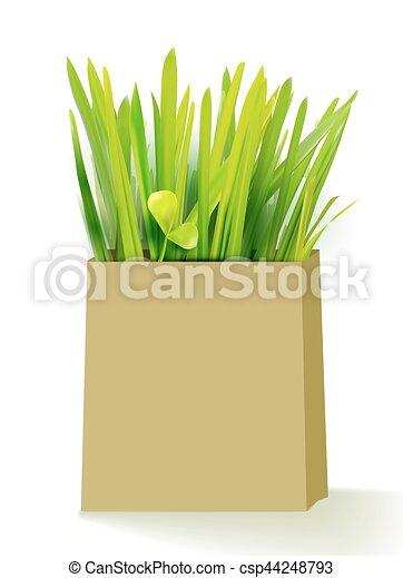 bio, 草, 買い物袋 - csp44248793