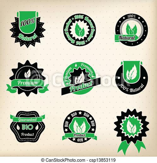 Bio badge design set  - csp13853119