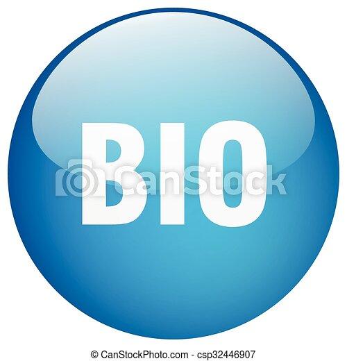 bio blue round gel isolated push button - csp32446907