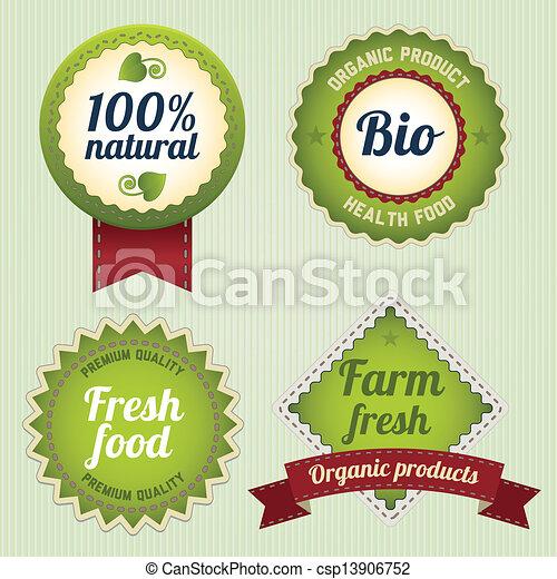 bio, etiketten, retro, set - csp13906752