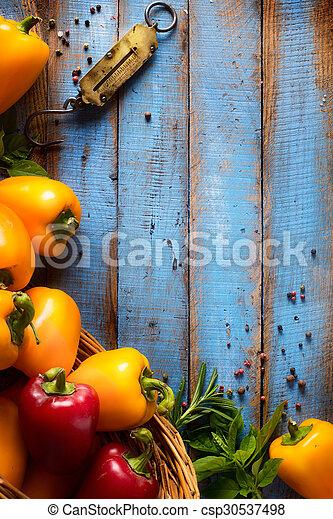 bio, kunst, gezonde , groentes, voedingsmiddelen, wood., keukenkruiden, organisch, achtergrond, houten, spices. - csp30537498