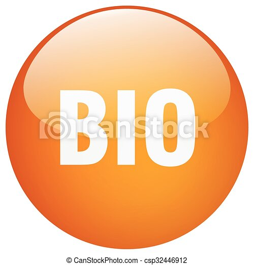 bio orange round gel isolated push button - csp32446912