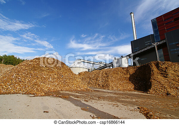 bio power plant drawing  with storage of wooden fuel against blue sky - csp16866144