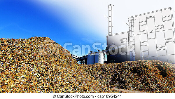 bio power plant drawing  with storage of wooden fuel against blue sky - csp18954241