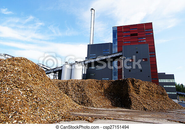 bio power plant with storage of wooden fuel (biomass) against bl - csp27151494