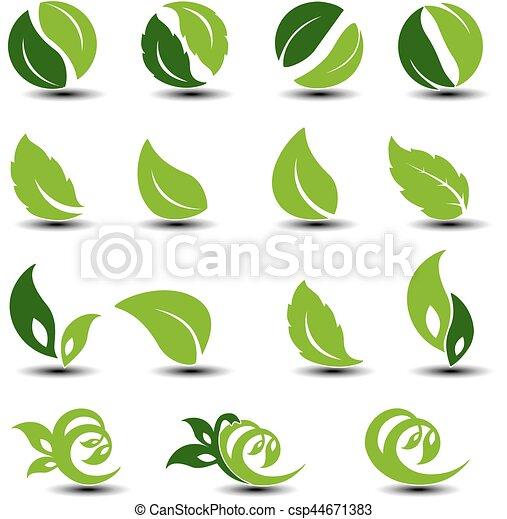 Simbolos redondos de vectores con hoja. Los elementos biológicos. - csp44671383