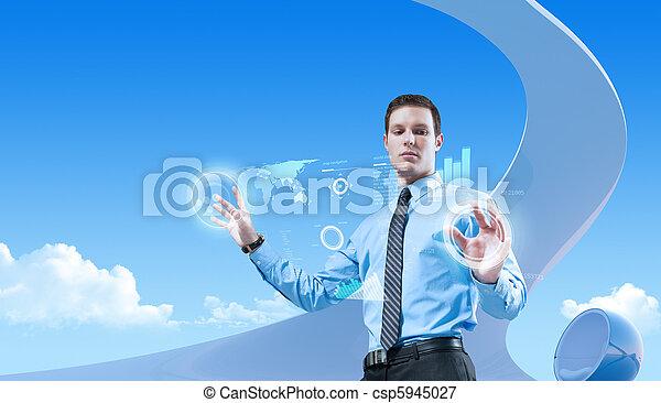 bio, style, collection., concepts, jeune, homme affaires, avenir, interior., interface, utilisation, hologramme, futuriste, beau - csp5945027