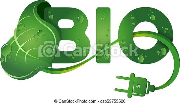 Bio symbol and green leaf - csp53755520