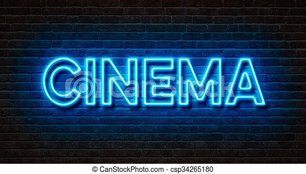 bio, vägg, -, neon signera, tegelsten - csp34265180