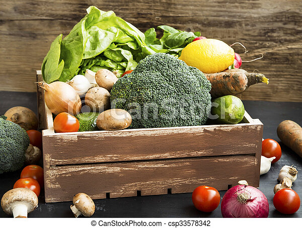 Bio vegetables with radish, broccoli, salad, mushrooms, broccoli, tomatoes in wooden crate - csp33578342