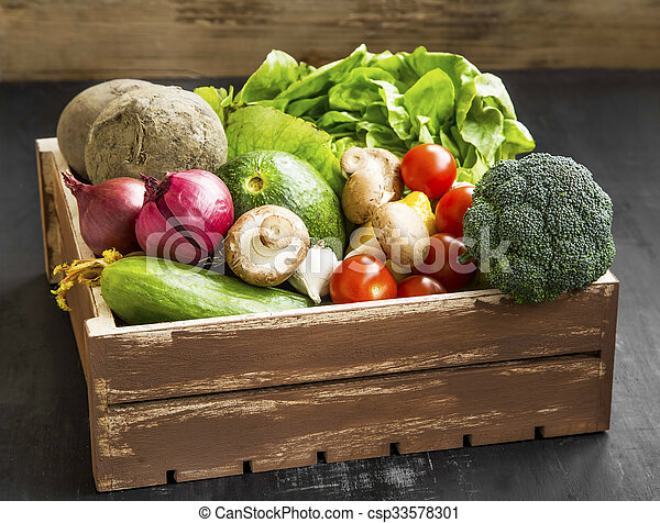 Bio vegetables with radish, salad, mushrooms, broccoli, tomatoes in wooden crate - csp33578301