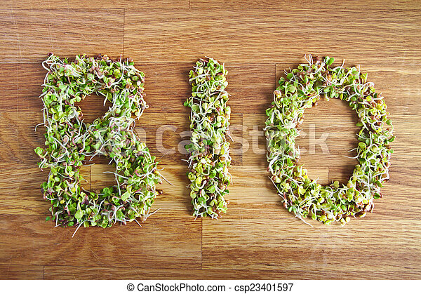 Bio word made of organic sprouts - csp23401597